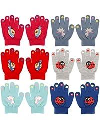 QKURT 6 Pares Guantes de Invierno para Niños,Invierno Guantes Guantes Calientes Guantes de dedos completos para Niños Niñas