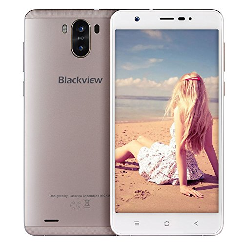 Smartphone ohne Vertrag, Blackview R6 Lite 3G Dual SIM Smartphone mit 5,5 Zoll QHD IPS Display – Android 7.0 Handy – MTK6580 Quad Core 1.3GHz – 3000mAh Großer Akku – 2MP + 8MP Kamera – 16GB ROM – Golden