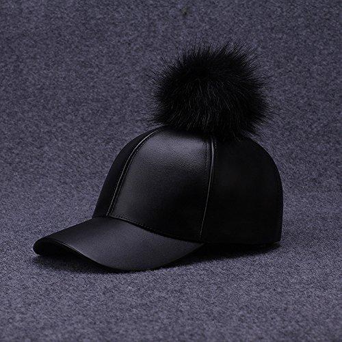 Damen Kappe Kap Mütze Muscheln Herbst und Winter Pelz Hüte große Haare Ball europäischen und amerikanischen Mode Straße Hip Hop Cap Trend, (Verkauf Top Billig Für Hüte)