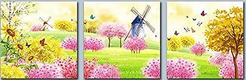 Obella nouvelles Impressions sur toile 3pièces + + Rose Jaune Fleurs et moulin à vent + + encadrée prête à suspendre–3panneaux Multipart Tableau Déco des Impressions sur toile pour la maison de cuisine salle à manger Décoration murale Décoration de cadeaux de Noël