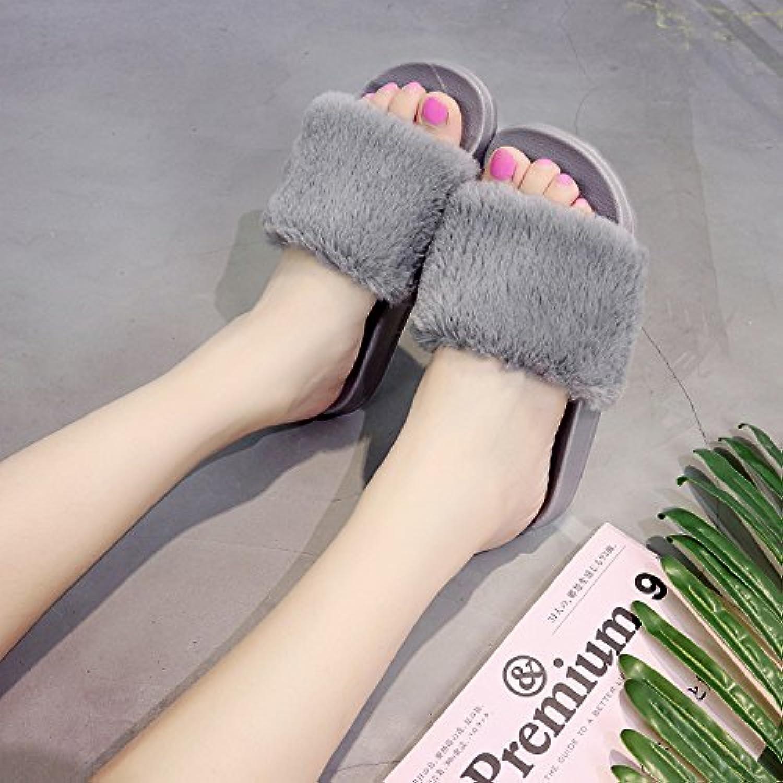 Moda de verano fankou antideslizante zapatillas plana ranurado cálidos tejidos femeninos zapatillas , 39, gris