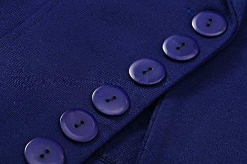 Sentao Donna Casuale Manica Lunga Giacca Blazer Slim Fit Colore Puro Top Camicetta Outwear Maglietta Blu