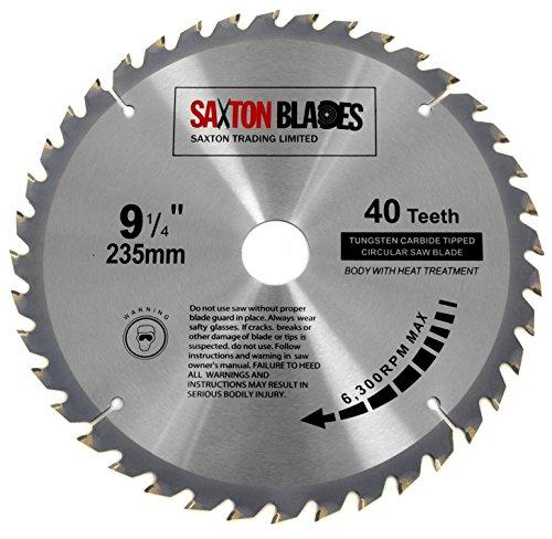 Lame de scie circulaire à bois Saxton TCT - 235x 30mm x alésage x 40dents pour Bosch Makita Dewalt - TCT23540T