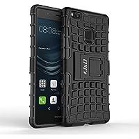 Huawei P9 Lite Funda, J&D [Soporte] [Doble Capa] [Protección Pesada] Híbrida Resistente Funda Protectora y Robusta para Huawei P9 Lite – Negro