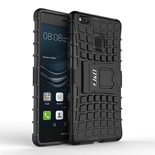 Coque Huawei P9 Lite, J&D [Kickstand] [Double Couche] Hybrid Shock Proof Stand Etui de Protection pour Huawei P9 Lite - Noir