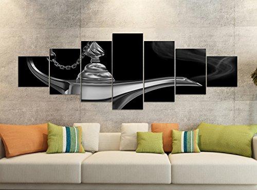 280x100cm schwarz Kinderzimmer Märchen Lampe Dschinn Leinwand Bild Teile teilig Kunstdruck Druck Wandbild mehrteilig 9YB2819, Leinwandbild 7 Tlg:ca. 280cmx100cm ()