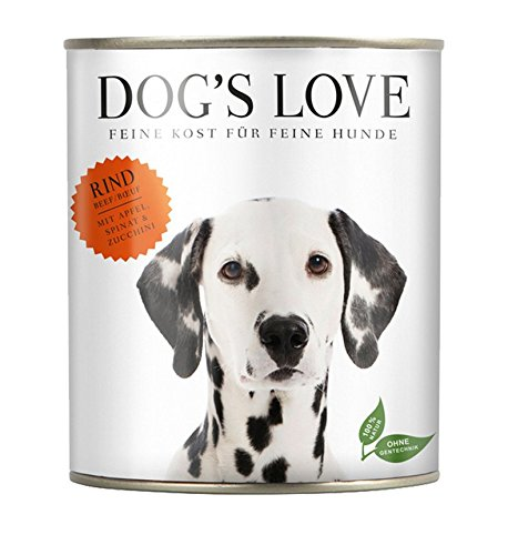 DOG'S LOVE Classic Nassfutter Hund Rind mit Apfel, Spinat & Zucchini (18 - Dog Hundefutter Classic