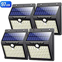 Luz Solar Exterior, VOOE [Versión Alta Calidad] 97 LED Foco Solar con Sensor de Movimiento Iluminación Luces Solares Impermeable Lámpara Solar para Exteriores 3 Modos para Jardín (4 Paquete)