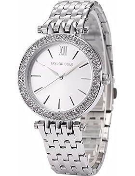 Taylor Cole Damen Armbanduhr XL Edelstahl Uhrband Silber TC003