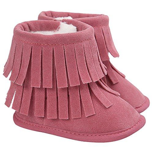 Gosear Kinder Kleinkind Mädchen Jungen Winter warme Schneestiefel Quasten Getrimmte Stiefel Schuhe Krabbelschuhe Babys Schuhe für 12-18 Monate Rote