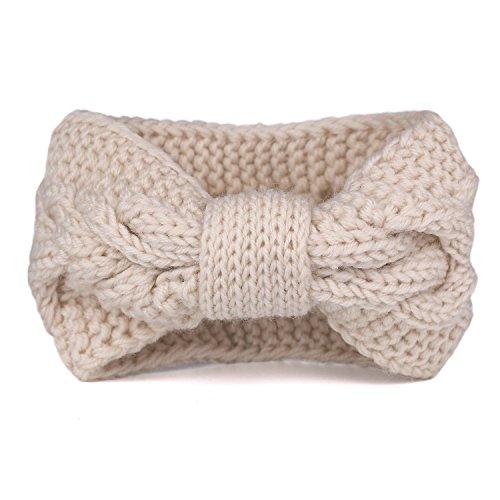Flammi Damen Kabel Knit Haarband Schleife Knoten Head Wrap Ear Warmer, Damen, beige -