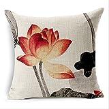 Nunubee kissenbezug Chinesischer alter Tuschemalerei Lotus Stil deko kissen deko wohnzimmer Autodekoration sofa cover, Stil 1 45x45cm