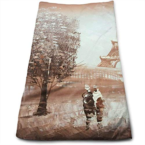 VTYOSQ Paris Eiffel Tower Soft Cotton Large Hand Towel- Multipurpose Bathroom Towels for Hand, Face, Gym and Spa