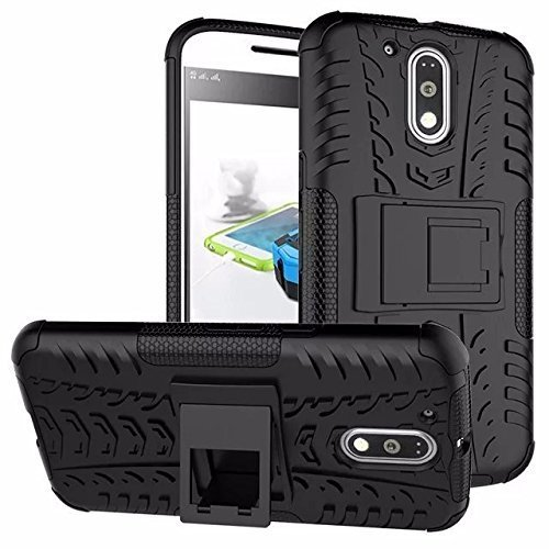 CEDO® Tough Hybrid Back Cover Case with Kickstand for Moto G Plus 4th Gen/Moto G4 4th Generation - Black