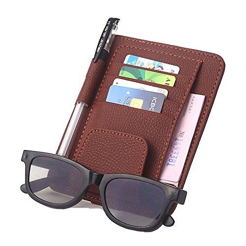 Sonnenbrillen- und Kartenhalter mit Klipp, Multifunktions Gläser Karten Sonnenbrille Halter Echt Leder Schutzhülle Halterung Tasche für Auto Fahrzeug LKW Sun Visor Organizer von DUBENS® (Braun)