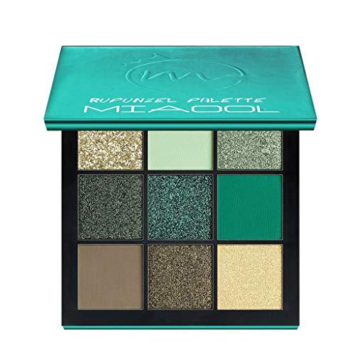 Ombre à Paupières Cosmétique Maquillage 9 Couleur Palette de Poudre de Fard à Paupières Pearl Glitter Mat audacieuse Pas cher (Vert)