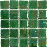 Glänzende irisierende Mosaik-Fliesen aus Glas, Streifen von 75 Fliesen, je 2 x 2 cm, grün