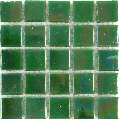 Schillernde Finish (Glanz 2cm x 2cm, Glasemail irisierend Glas Mosaik Fliesen–Streifen von 75Fliesen, grün)