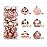 SMILINGGIRL Decorazioni Natalizie, Set di Palle Dipinte 6Cm24, Infrangibile Sfera di Decorazione Dell'albero di Natale,Pink