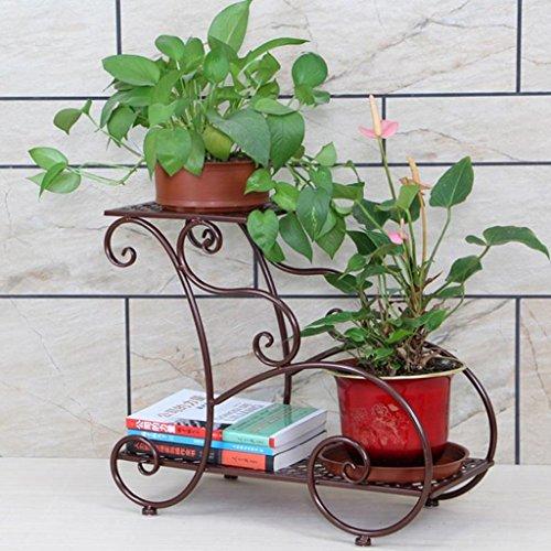 HZH Étagère à fleurs en fer forgé Étage intérieur et extérieur Multi-couche Pot de fleur vert Étagère Salon Balcon Boutique de fleurs (Color : Bronze)