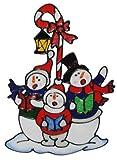 fertiges 3-D Fensterbild Schneemänner selbstklebend Wiederverwendbar Schneemann Winter Weihnachten