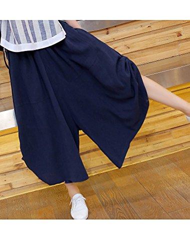 MatchLife Damen Weite Hose Baumwolle und Leinen Culotte Style2-Blau
