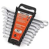 MAXPOWER Chiave combinata, set di chiavi 9PCS chiave a doppio scopo, 8-19 mm.
