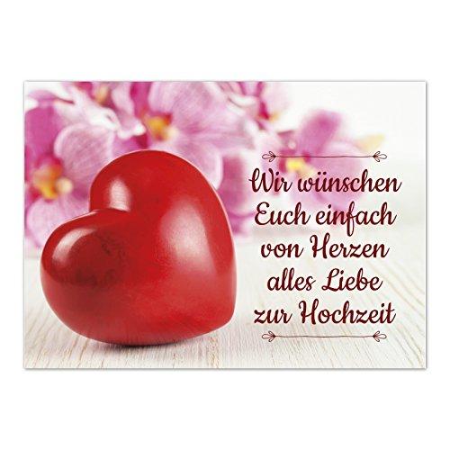 Glückwunsch-Karte zur Hochzeit mit Umschlag / Großes rotes Herz mit Spruch / Hochzeitskarte / Glückwunsch Karte