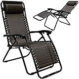 AMANKA faltbarer Liegestuhl Relaxsessel 178x64cm | Garten-Liege klappbar Campingliege Freizeitliege mit Nacken-Kissen | Stahlrahmen | Belastbarkeit max. 120KG | Schwarz