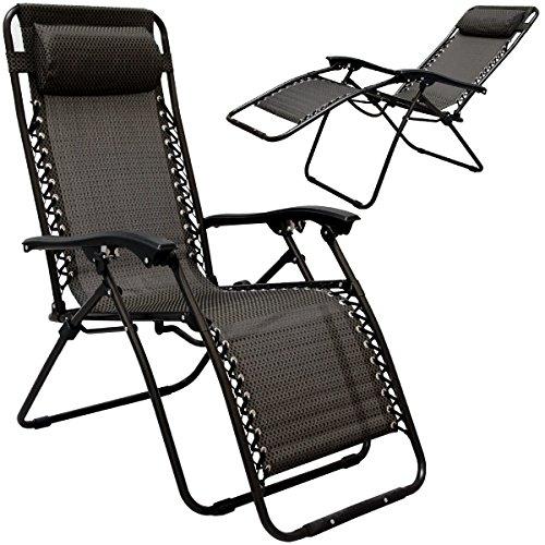AMANKA faltbarer Liegestuhl Relaxsessel 178x64cm | Klappliege Campingliege Freizeitliege mit Nacken-Kissen | Stahlrahmen | Belastbarkeit max. 120KG | Schwarz