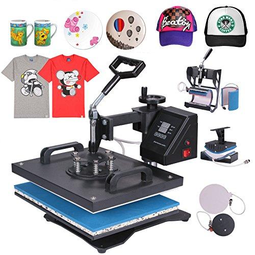 Chaneau Presse à Chaud Transfert Press Machine 6 en 1 Multifonctionnel Machine De Transfert sur T-Shirt Tasse Chapeau Cap Plate (6 en 1)