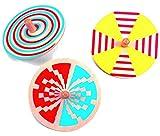 alles-meine.de GmbH 3 Stück _ Geschicklichkeitsspiel - Geduldsspiel - kleiner Kreisel -  bunte Motive  - aus Holz - Spiel Kinder / Erwachsene - Drehkreisel - Knobelspiel - Knobelspiele / Mitgebsel - Holzkreisel - Motorikspiel - Motorik - Klein / Kindergeburtstag