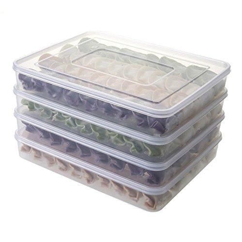 Frischhaltedosen, stapelbar Kühlschrank Kühlschrank Gefrierschrank Aufbewahrungsbox Speisen Behälter Stapeln Organizer, plastik, durchsichtig, 4er-Packung (Lebensmittel-lagerung-container Gefrierschrank)