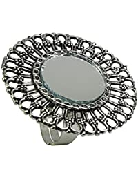 Geode Delight German Silver Mirror Ring for Women and Girls