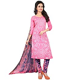 Taboody Empire Indian Hot Baby Pink Satin Cotton Handi Crafts Bandhani Work With Straight Salwar Suit For Girls...