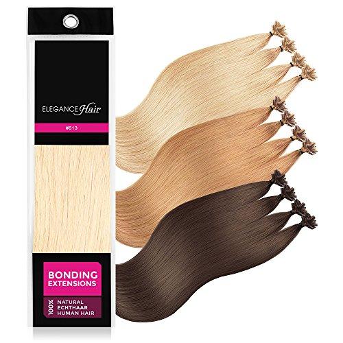 ELEGANCE-HAIR® Bonding Extensions 20x 1g Echthaar-Strähnen Keratin Haarverlängerung 50cm Glatt #613 - Beach Blonde - Platin-Blond