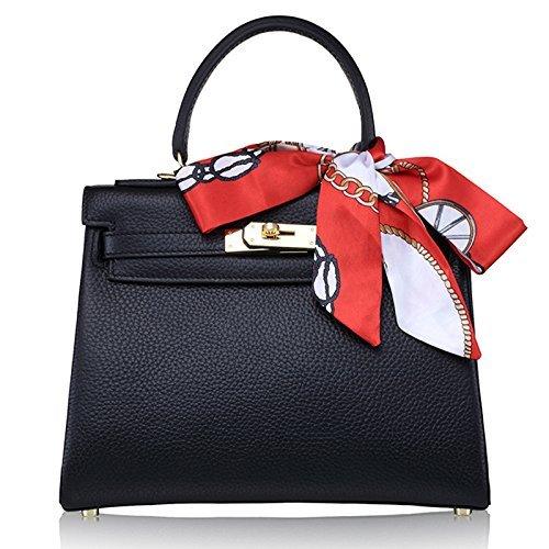 Erste Schicht aus Leder Damenhandtasche Schultertasche Messenger Bag Mehrzweck MC-8030 (schwarz) (Handtaschen Gucci Logo)