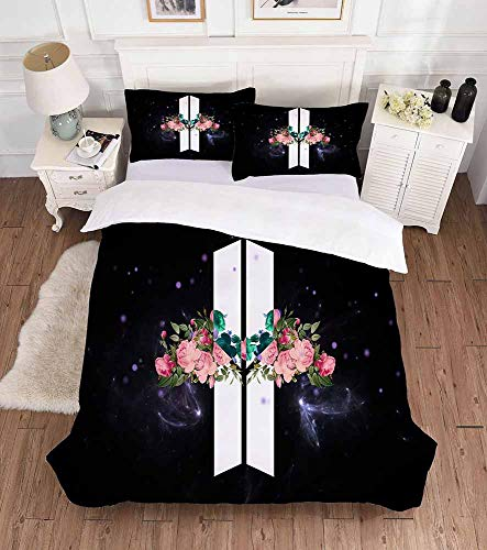 Kewing Kpop BTS 3-teiliges Bettbezugset und Kissenbezüge,mit Reißverschluss und Sicherheitsbänder (Kissenbezug Thermische)
