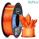 SUNLU Transparent PLA Filament 1.75 mm 3D Printer Filament, 1kg Spool 3D Printing Filament, Dimensional Accuracy +/- 0.02 mm for 3D Printer and 3D Pen (Transparent Orange)