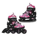 2 in 1 Inlineskate und Schlittschuh verstellbar Gr. 31-34 pink-schwarz Skates