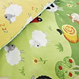 Happy Linen Company Childrens Boys Girls Farm Animals Counting Sheep Green Yellow Reversible Single Bedding Duvet Cover Set