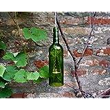 Upcycling- Hängelampe aus einer Weinflasche (grün) inklusive Teelicht