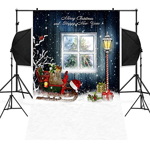 ADESHOP Decorated Christmas Tree, Xmas Gifts For Kids, Christmas Backdrops Snowman Vinyl 3x5FT Lantern Background Photography Studio