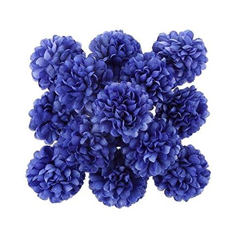 30xDaisy Craft Artificial Flower Silk Spherical Head Wedding Decor - Dark Blue, 160x3cm/63x1.18inch