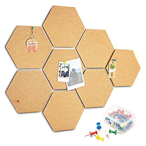 HENMI 8 Stück Pinnwand, Korkplatte selbstklebende DIY, Korkwand Multifunktionale Anwendung für Foto hängen, Heimdekoration und Büro Memorandum, mit 40 Stück Pinnnadeln