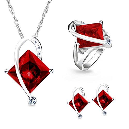 Uloveido Frauen Geometrische Form Simulierte Red Topas Silberkette Halskette Ohrstecker Ohrringe Hübsche Brautschmuck Set (Rot, Größe 57) T295