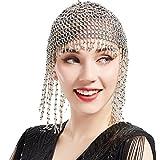 ArtiDeco - Copricapo vintage, decorato con perline, stile Flapper dei ruggenti anni '20; per party a tema esotico, Cleopatra o Grande Gatsby argento Silver Taglia unica
