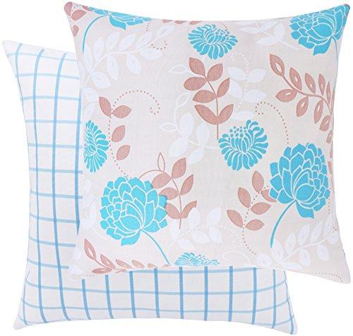 Loom Platz Garden Collection, mit Floral- und Gingham Baumwolle Dekorativer Überwurf-Kissenbezug 20 x 20 Seashell/Blue (Floral X Kissenbezug 20 20)