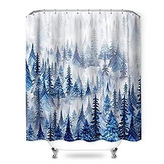 Litthing Cortina de baño Impermeable, a Prueba de Polvo y fácil de Limpiar con Gancho (Acuarela)