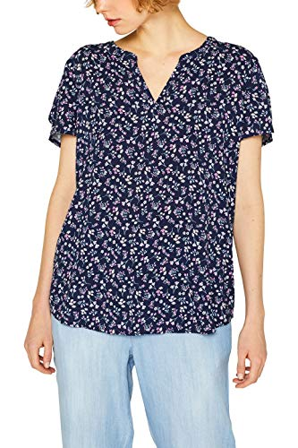 Esprit Kurzarm-bluse (ESPRIT Damen 049EE1F026 Bluse, Blau (Navy 400), (Herstellergröße: 40))